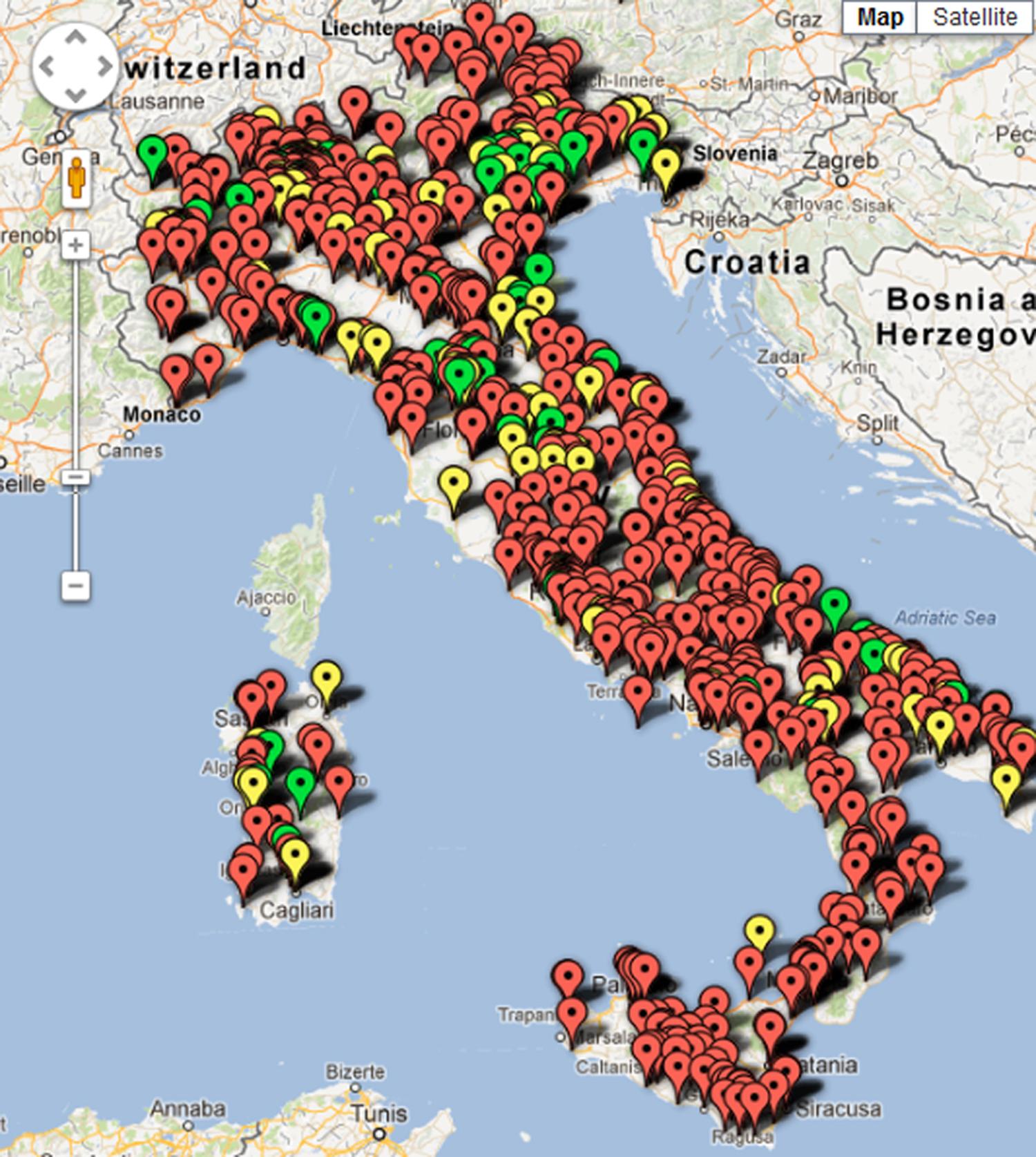 mappa delle singole PA monitorate in Era della Trasparenza